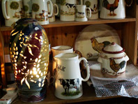 Chintz animal milk jug and sugar bowl with Michael Kennedy lamp also in view