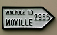 Irish road sign ( replica ) for Moville, Donegal, Ireland