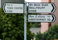Irish Road Sign on road leading out of Tralee, click to enlarge