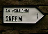Irish Road sign for Sneem village (An tSnaidhm)  in County Kerry